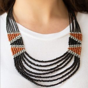 Black/Brown seed Bead necklace